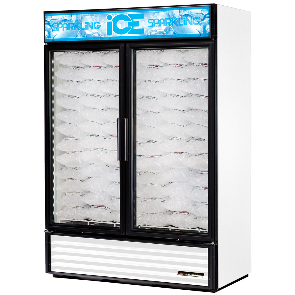 True GDIM-49NT-LD White Tankless Two Section Glass Door Ice Merchandiser - 49 cu. ft.