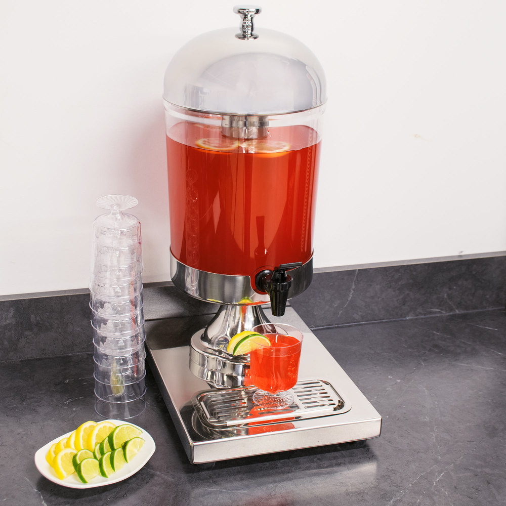 8.5 Qt. Clear Beverage Dispenser Stainless Steel