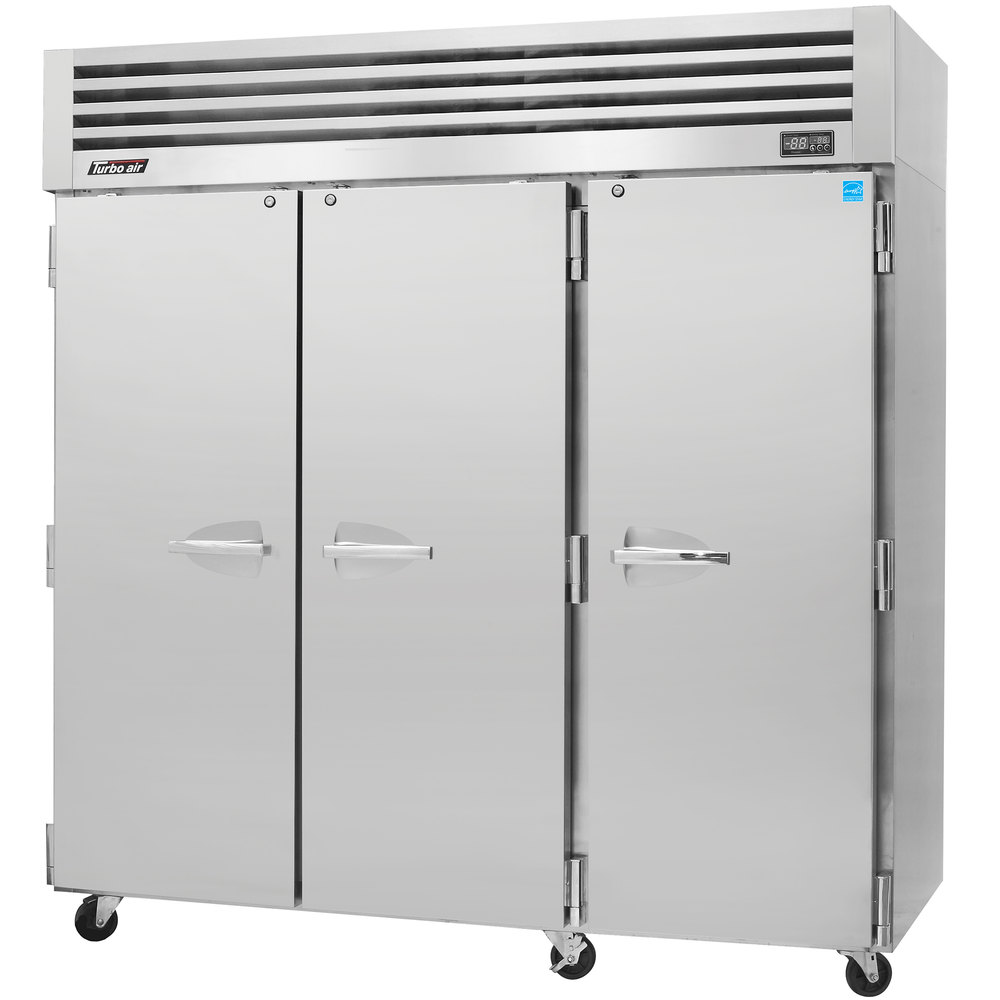 "Turbo Air PRO-77F 78"" Premiere Pro Series Three Section Solid Door Reach in Freezer - 76 cu. ft."