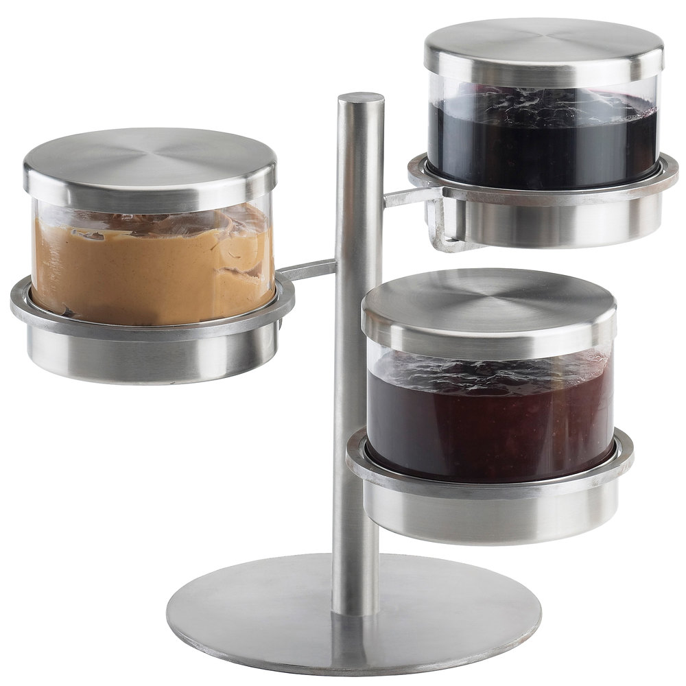 "Cal-Mil 1855-5-55 Mixology Stainless Steel Three Tier 32 oz. Metal Lid Jar Display - 16"" x 12"" x 11 1/4"""