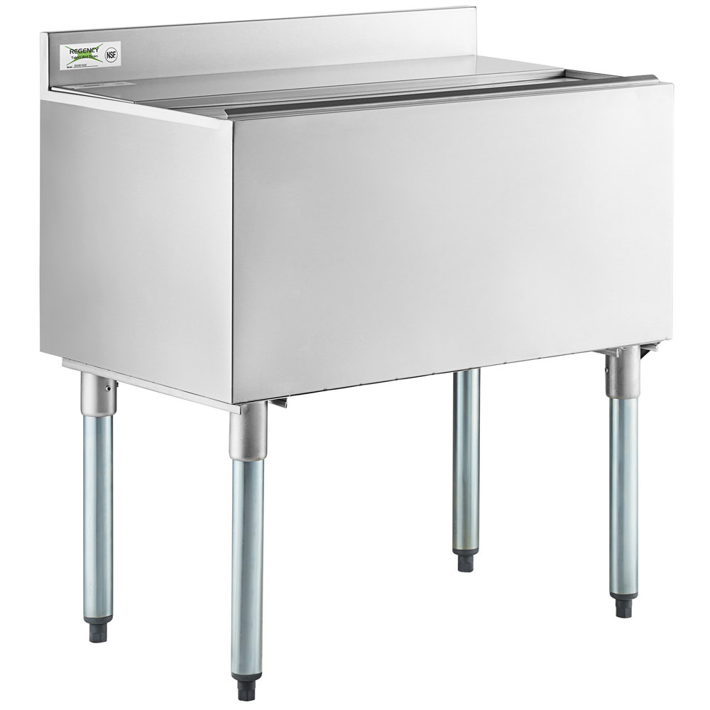 Regency 18 inch x 30 inch Stainless Steel Underbar Ice Bin with Sliding Lid and Bottle Holders - 98 lb.