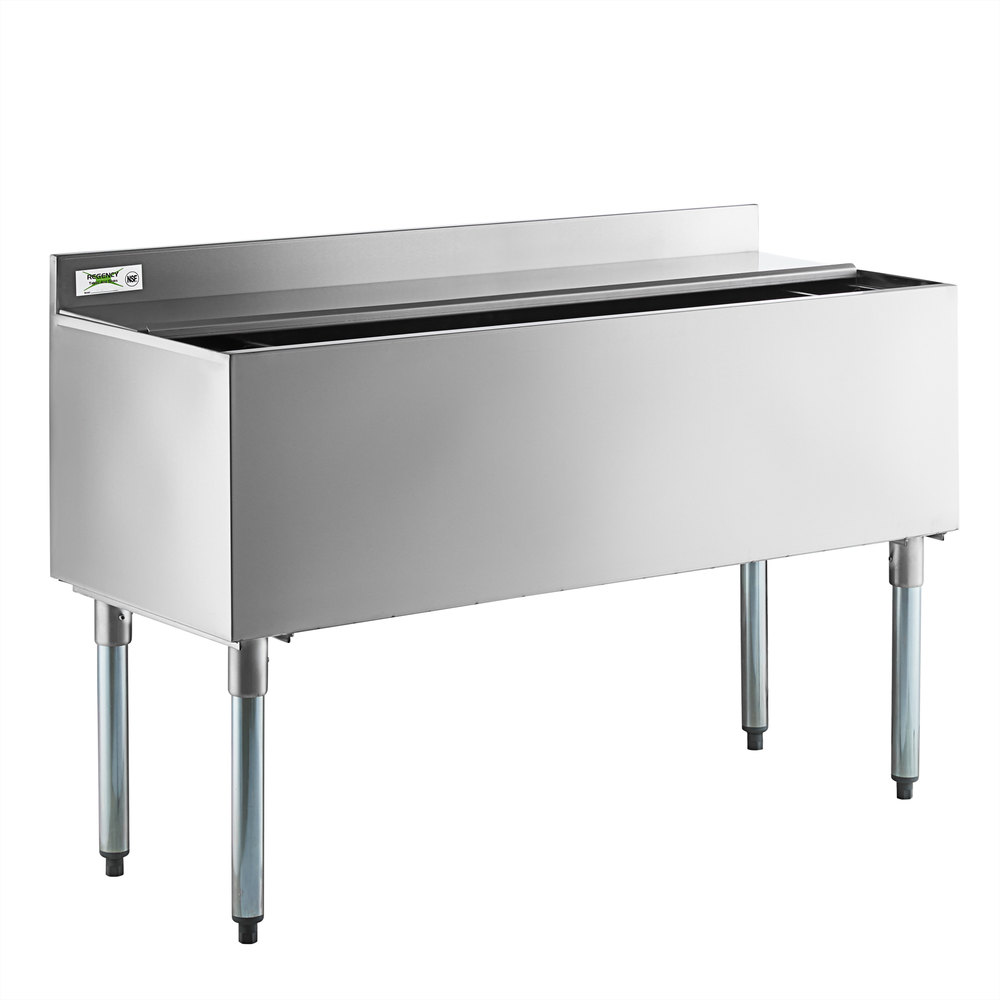 Regency 18 inch x 48 inch Stainless Steel Underbar Ice Bin with Sliding Lid and Bottle Holders