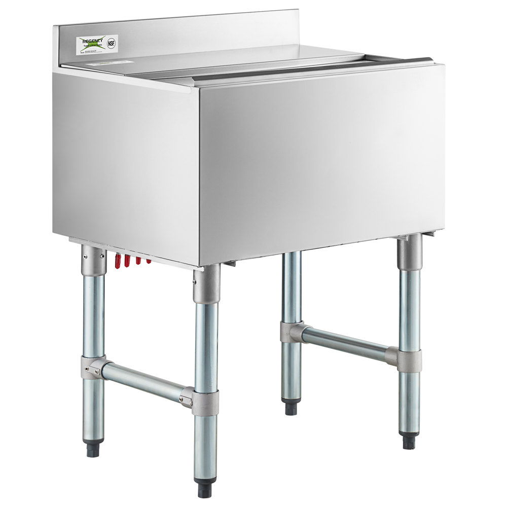 Regency 18 inch x 24 inch Underbar Ice Bin with 7 Circuit Post-Mix Cold Plate, Sliding Lid, and Bottle Holders - 51 lb.