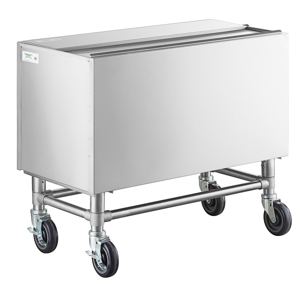 Regency 36 inch x 18 inch Stainless Steel Portable Ice Bin with Sliding Lid