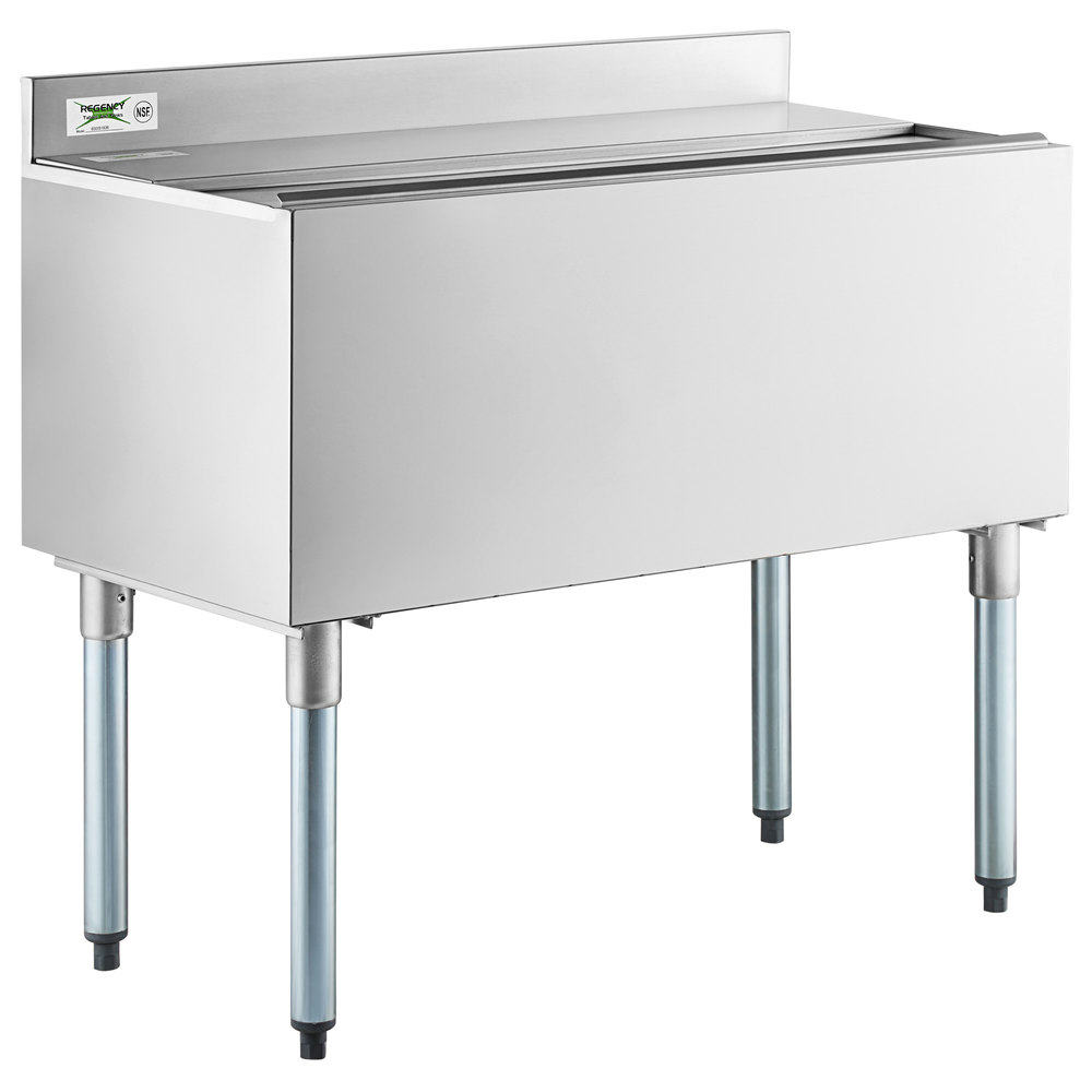 Regency 18 inch x 36 inch Stainless Steel Underbar Ice Bin with Sliding Lid and Bottle Holders - 119 lb.