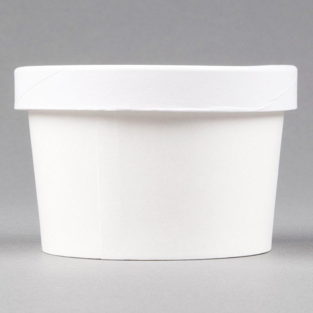 d65a9a658f2 Choice 8 oz. Double Poly-Coated White Paper Food Cup with Vented Paper Lid  - 250/Case