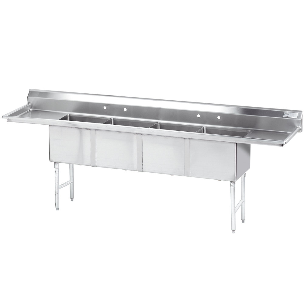 Advance Tabco FC-4-2424-24RL Four Compartment Pot Sink with Two Drainboards - 144""