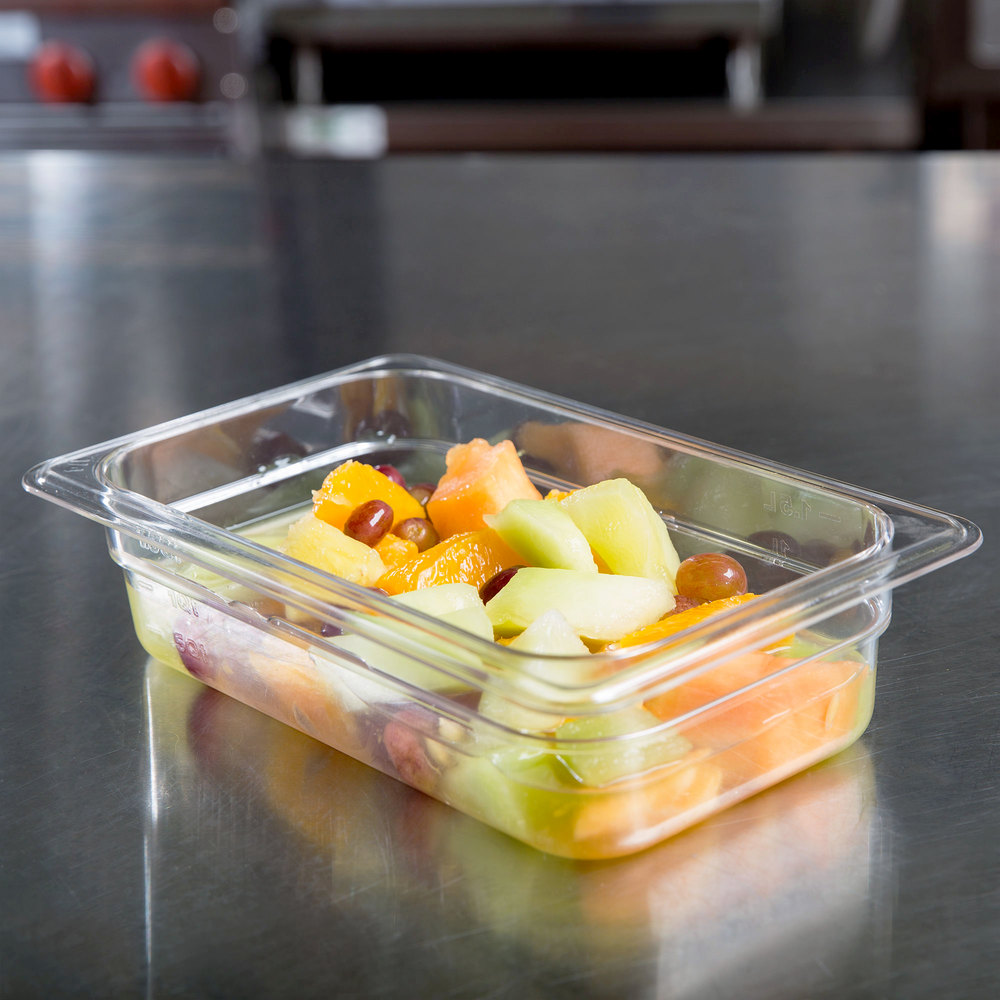 "1/4 Size Clear Polycarbonate Food Pan - 2 1/2"" Deep"