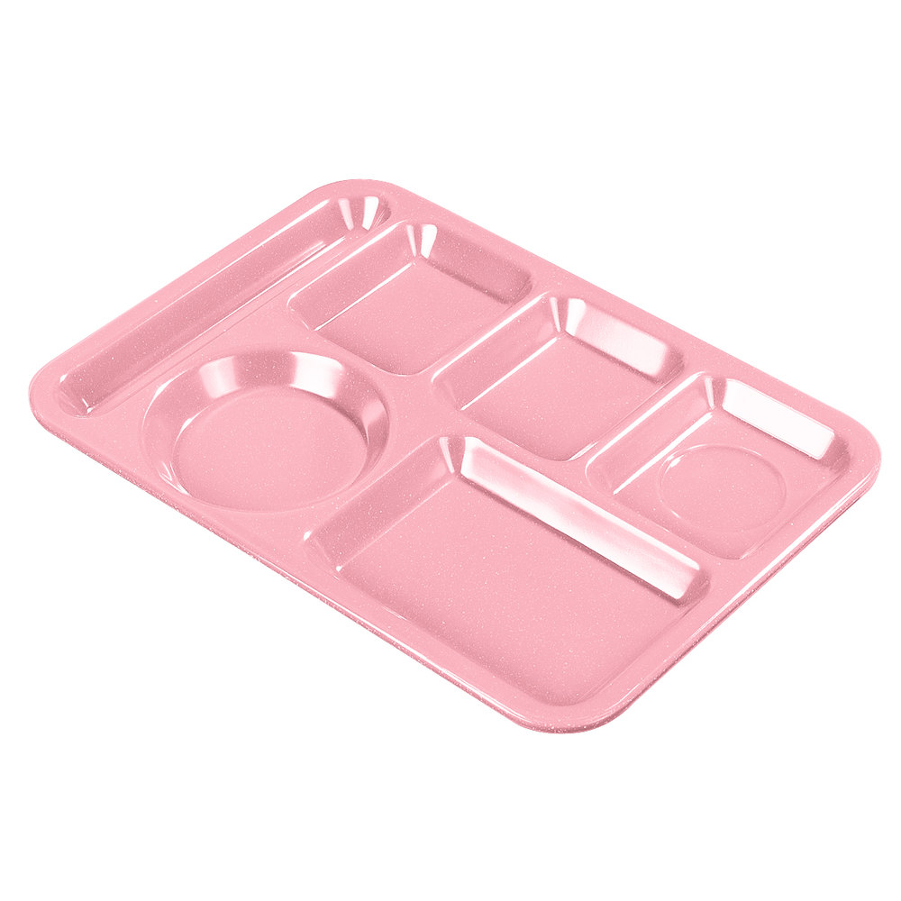 "Carlisle 4398193 10"" x 14"" Rose Heavy Weight Melamine Granite Left Hand 6 Compartment Tray"