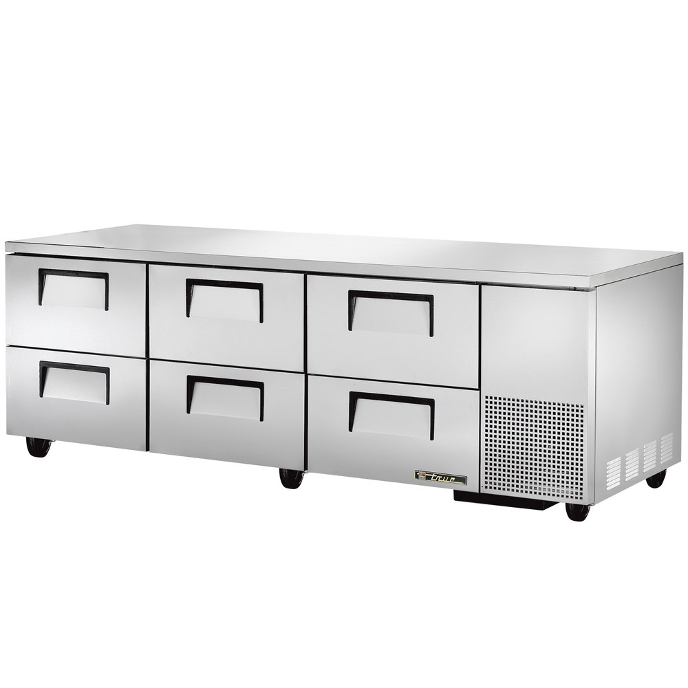 "True TUC-93D-6 93"" Extra Deep Undercounter Refrigerator with Six Drawers"