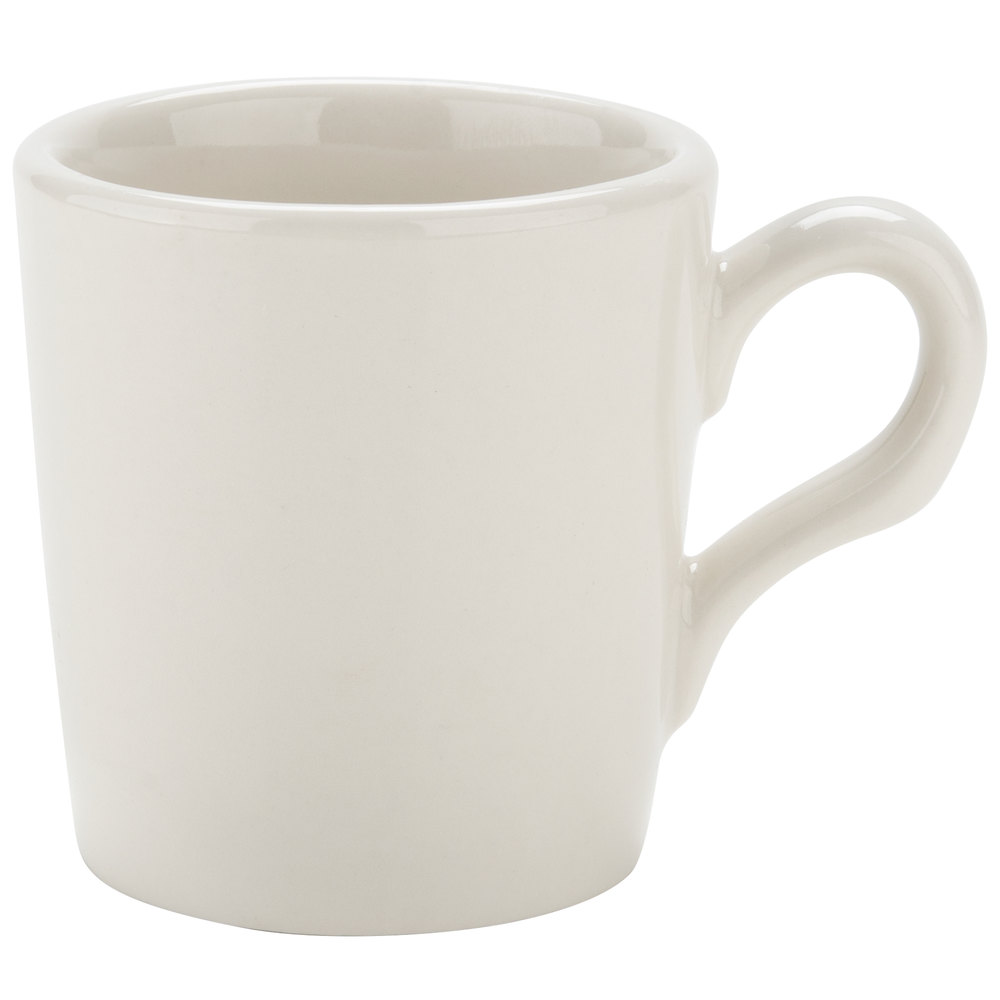 Tuxton TRE-028 2.75 oz. Ivory (American White) Wide Rim Rolled Edge China Espresso Cup - 36/Case