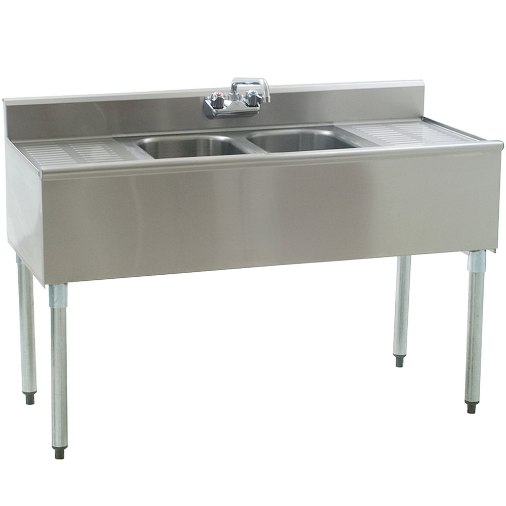 Eagle Group B4C-2-18 Compartment Underbar Sink with Two Drainboards and Splash Mount Faucet - 48""