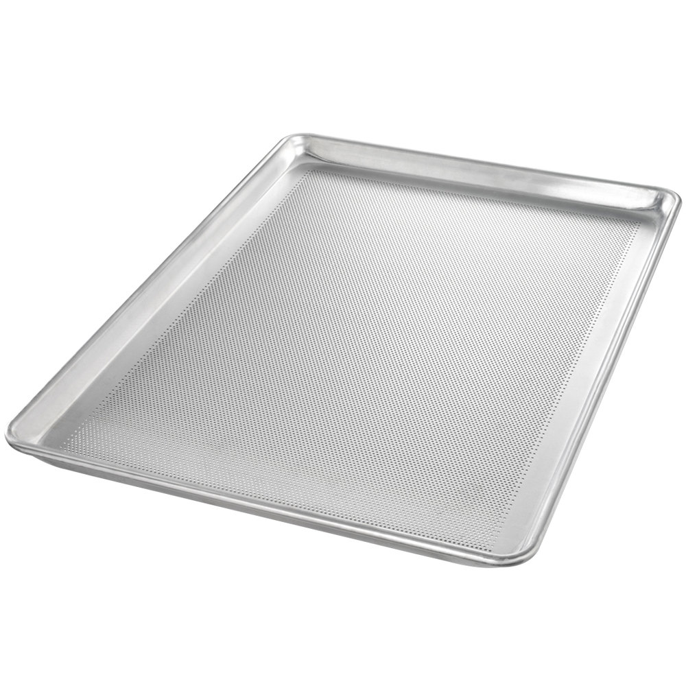 "Chicago Metallic 44891 StayFlat Perforated Full Size 18 Gauge Aluminum Sheet Pan - Wire in Rim, 18"" x 26"""