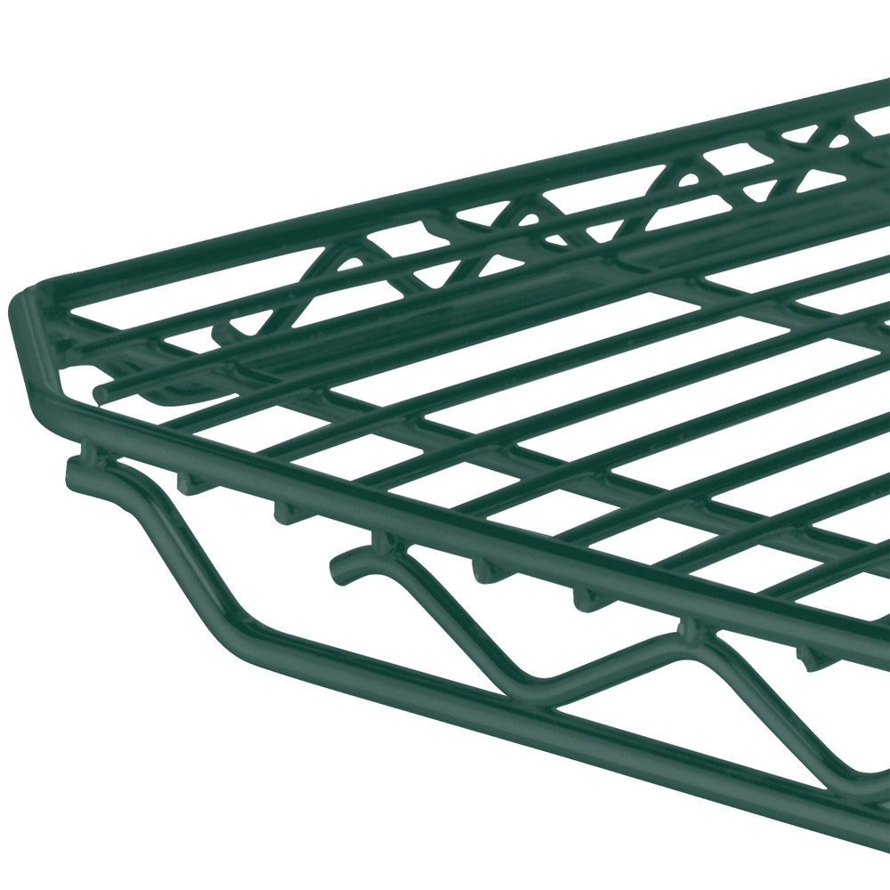 "Metro 1448Q-DHG qwikSLOT Hunter Green Wire Shelf - 14"" x 48"""