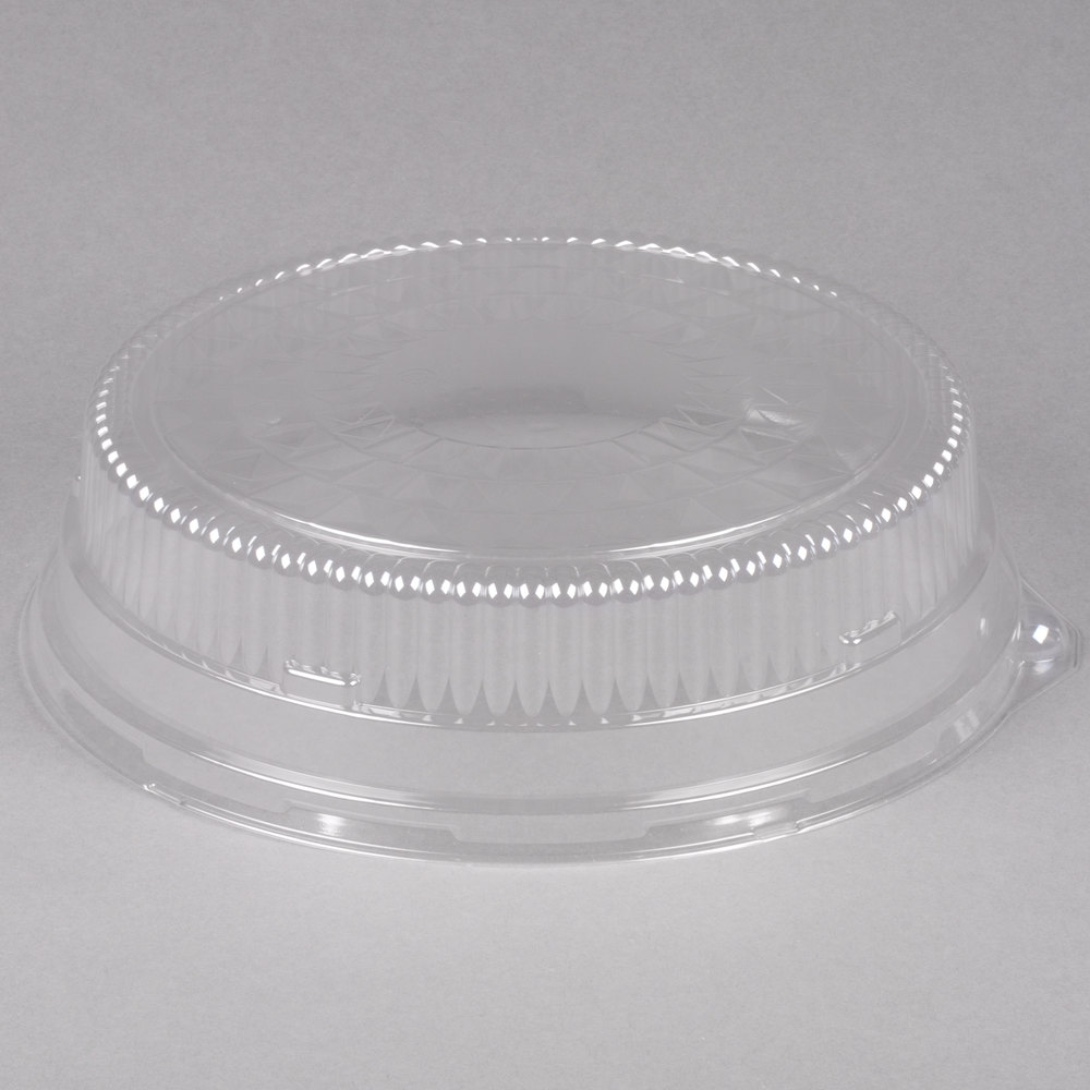 "Durable Packaging 12DL 12"" Clear Plastic Round High Dome Lid - 5/Pack"
