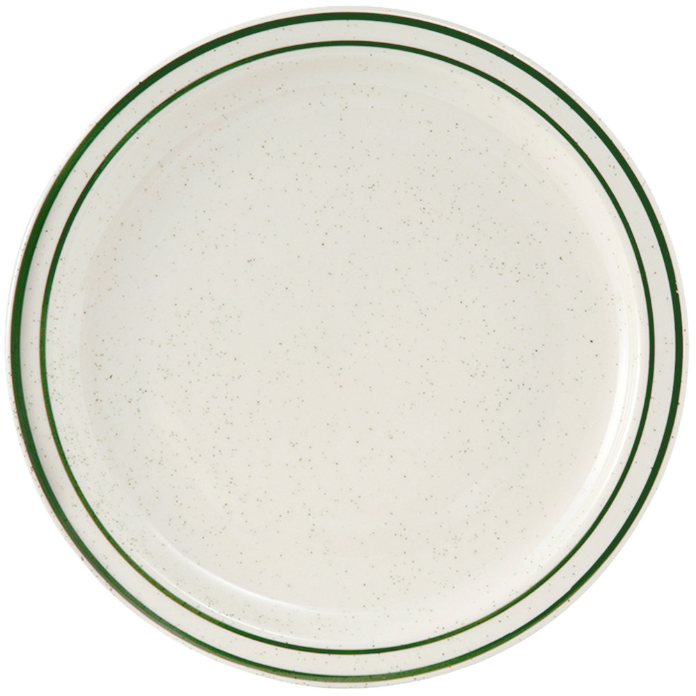 "Tuxton TES-008 Emerald 9"" Green Speckle Narrow Rim China Plate - 24/Case"