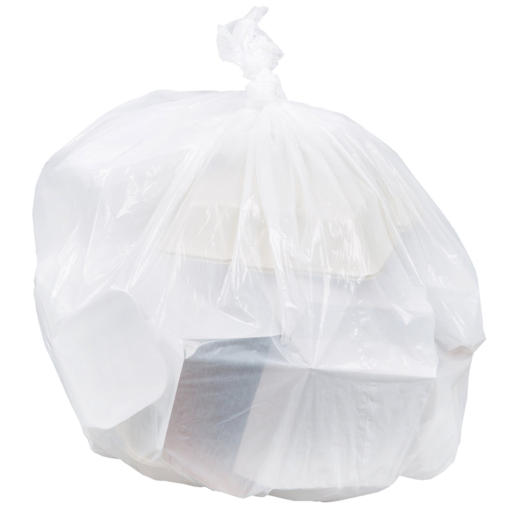 "AEP 333920W 33 Gallon 0.8 Mil White 33"" x 39"" Low Density Can Liner / Trash Bag - 150/Case"