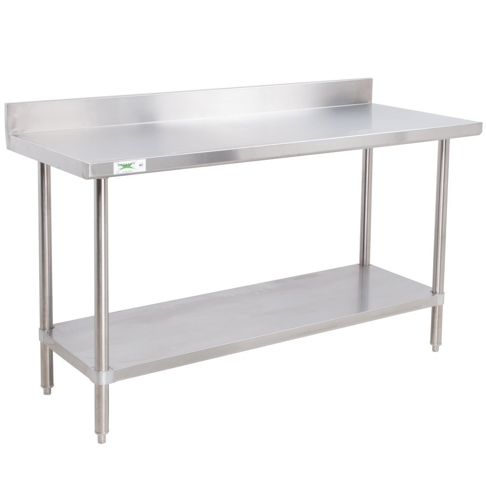 regency 24 x 48 16 gauge stainless steel commercial work table with 4 backsplash and undershelf - Stainless Steel Work Table With Backsplash