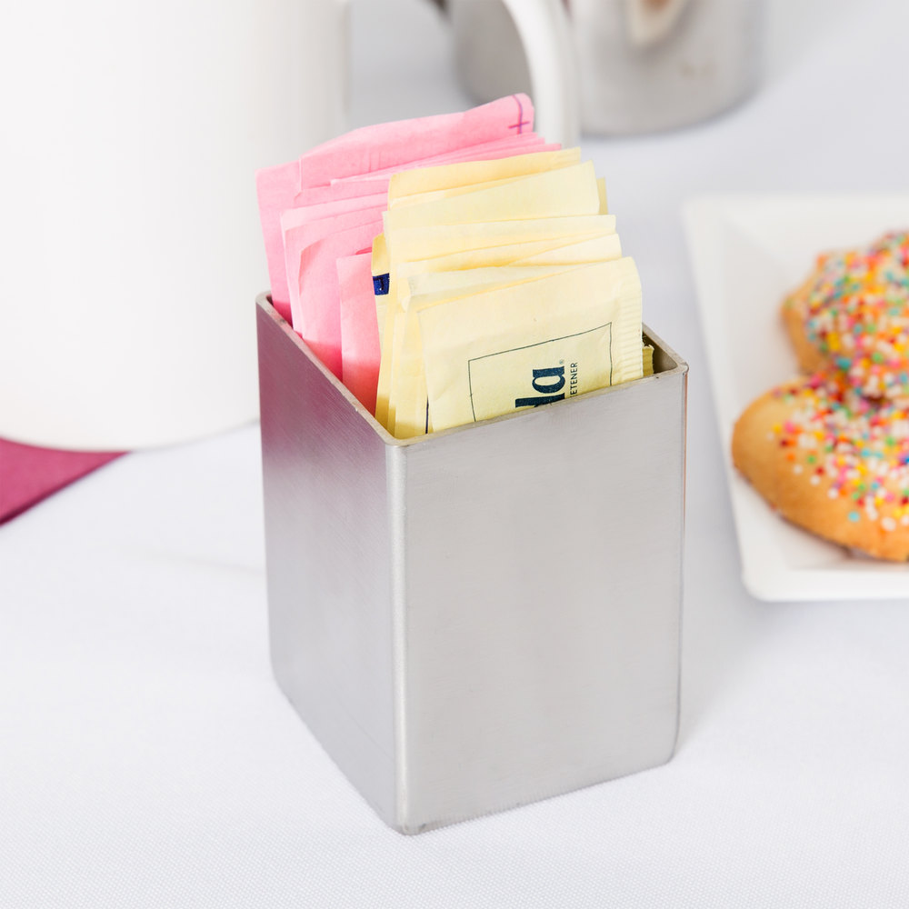 "Tablecraft 1156 2"" x 2"" Square Stainless Steel Sugar Caddy"
