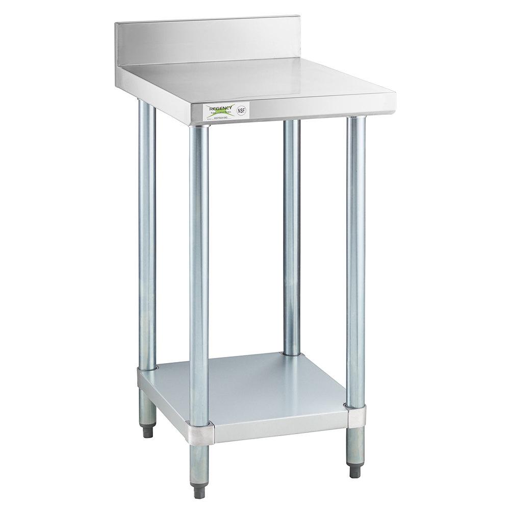 Regency 24 inch x 18 inch 18-Gauge 304 Stainless Steel Equipment Filler Table with Backsplash and Galvanized Undershelf