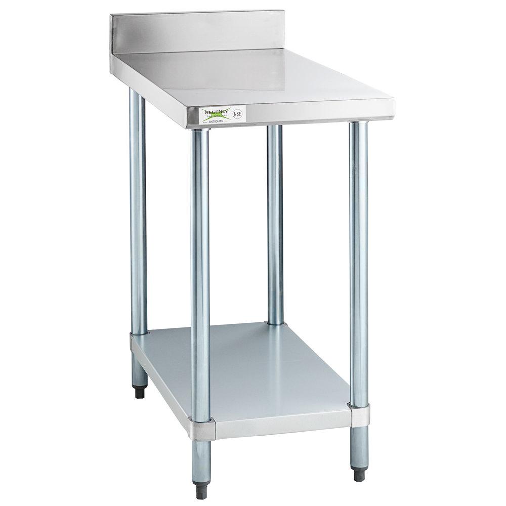 Regency 36 inch x 18 inch 18-Gauge 304 Stainless Steel Equipment Filler Table with Backsplash and Galvanized Undershelf