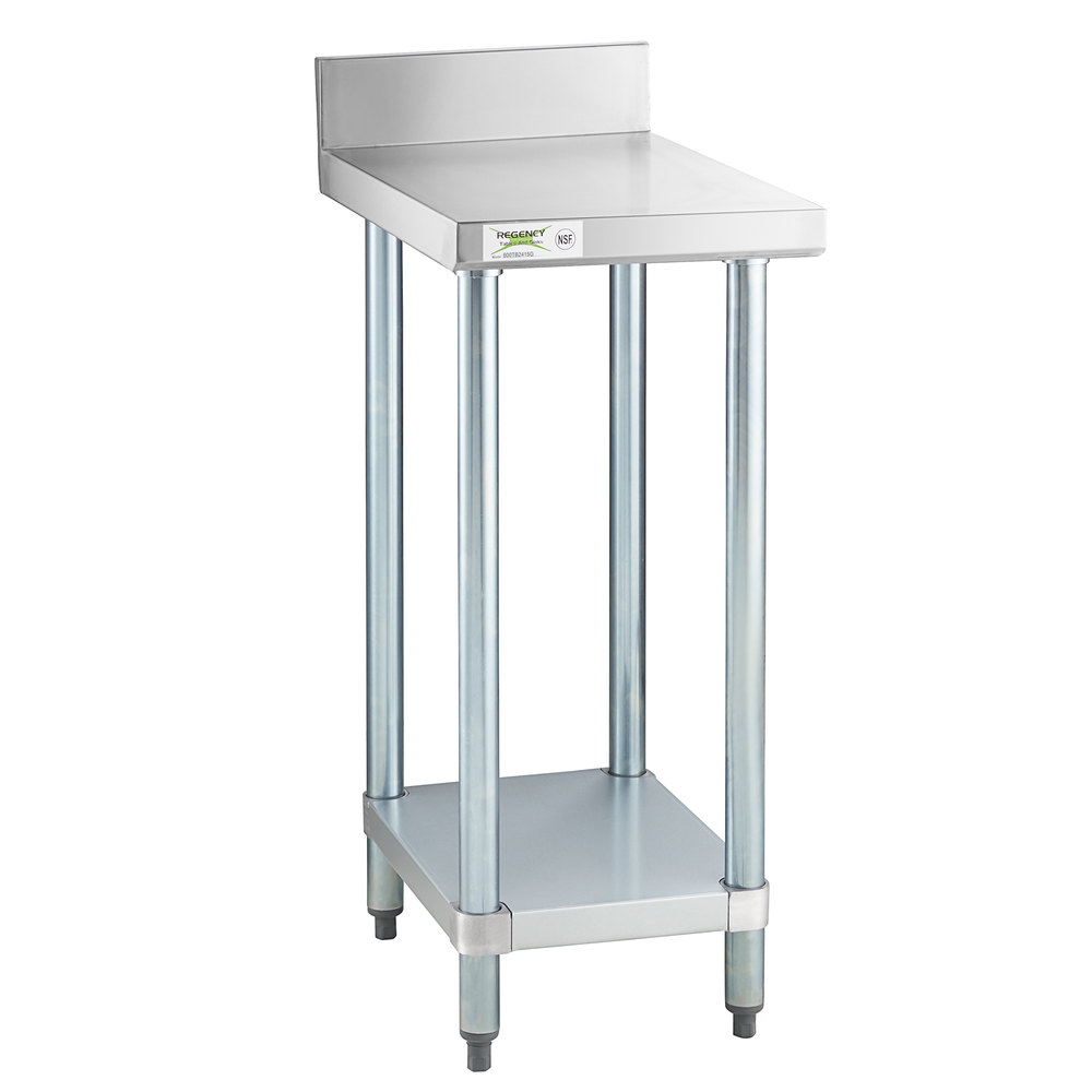 Regency 24 inch x 15 inch 18-Gauge 304 Stainless Steel Equipment Filler Table with Backsplash and Galvanized Undershelf