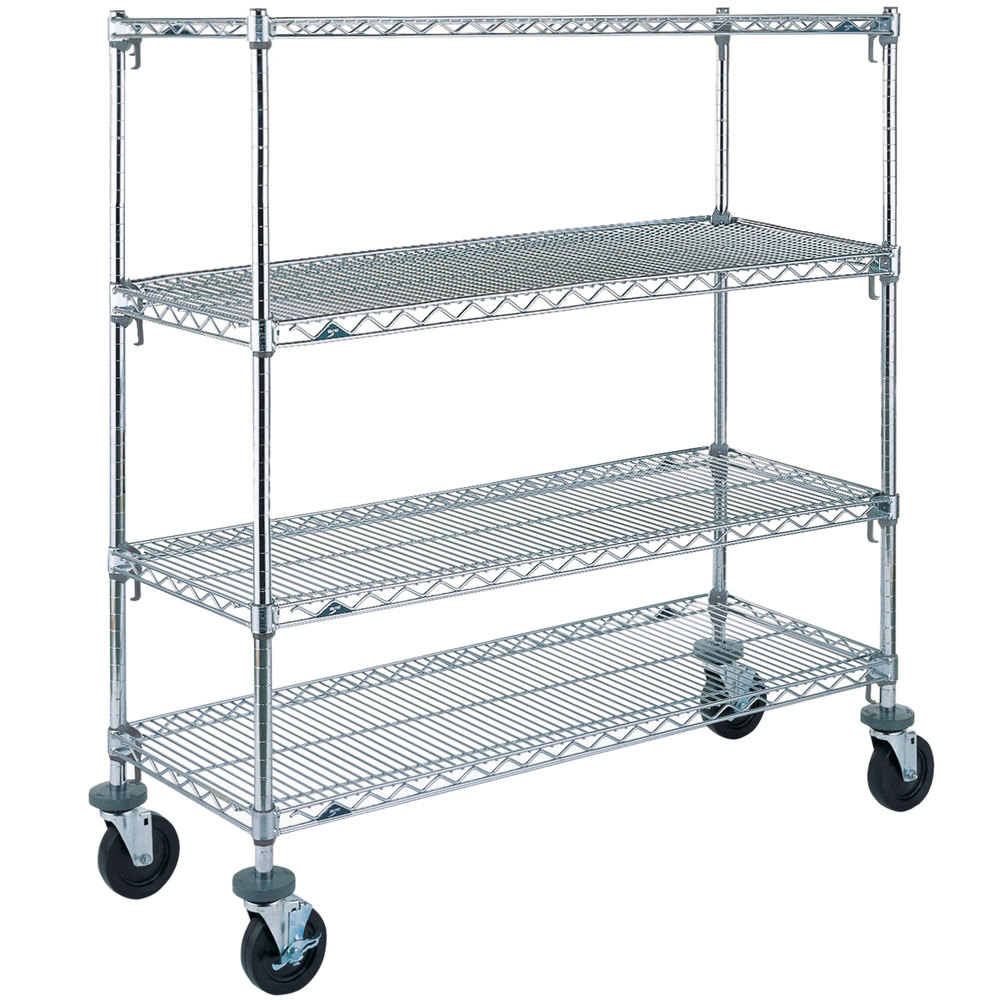"Metro A466BC Super Adjustable Chrome 4 Tier Mobile Shelving Unit with Rubber Casters - 21"" x 60"" x 69"""