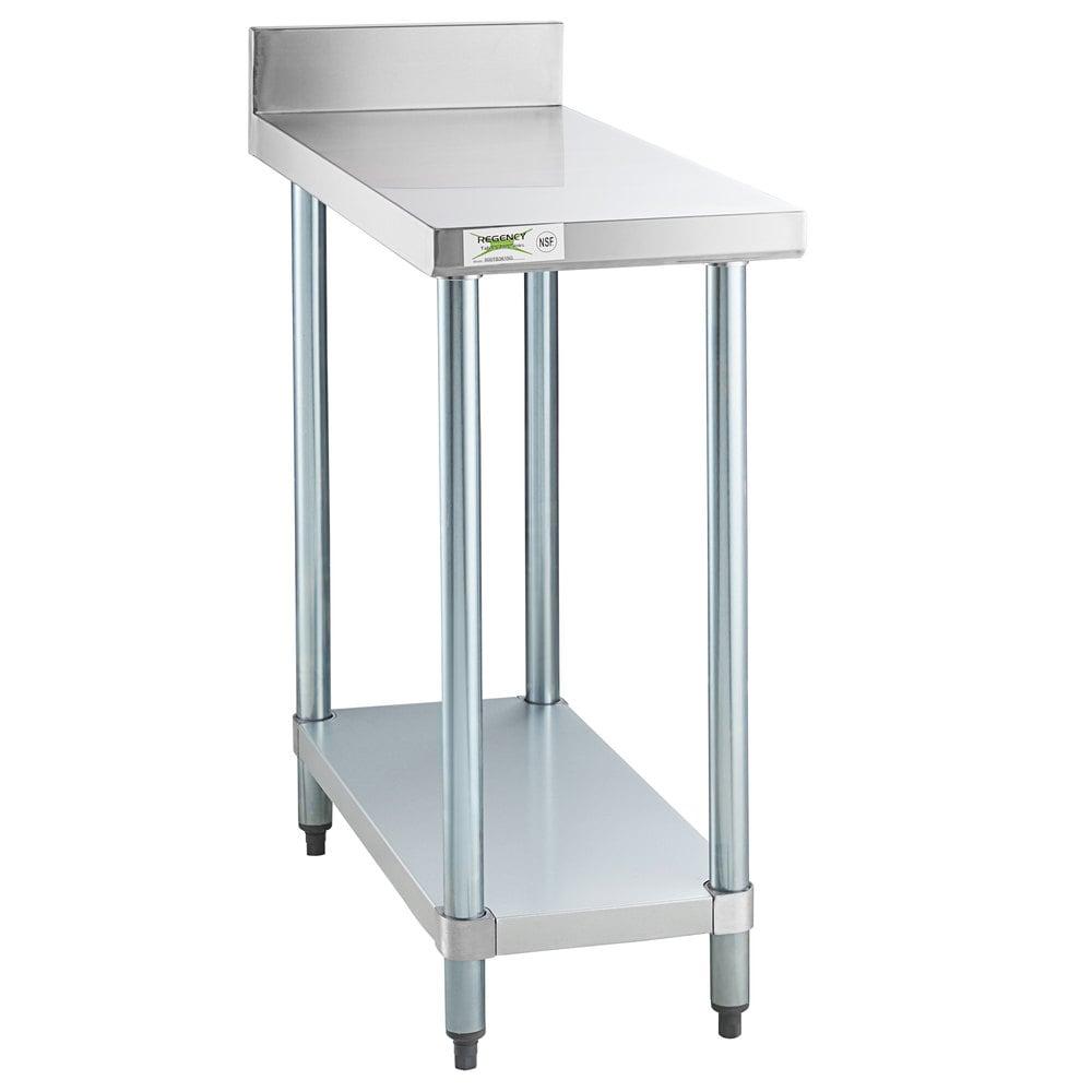 Regency 36 inch x 15 inch 18-Gauge 304 Stainless Steel Equipment Filler Table with Backsplash and Galvanized Undershelf