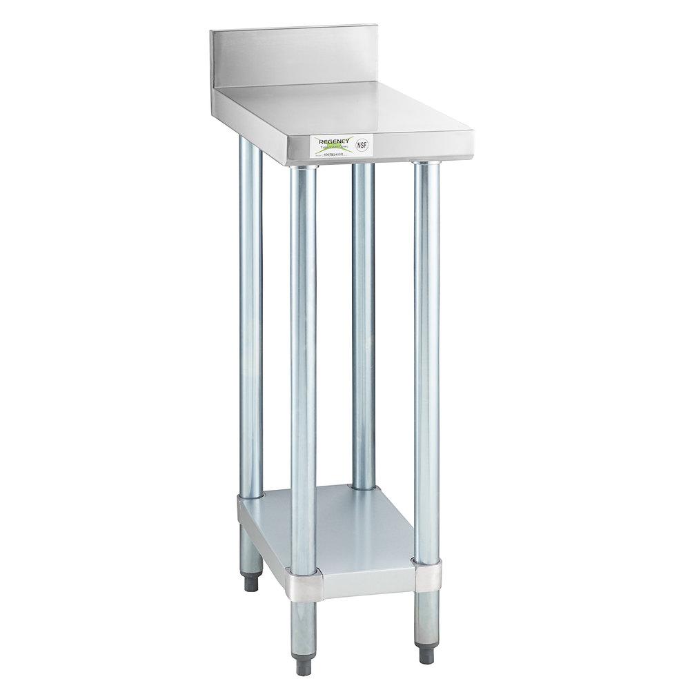 Regency 24 inch x 12 inch 18-Gauge 304 Stainless Steel Equipment Filler Table with Backsplash and Galvanized Undershelf