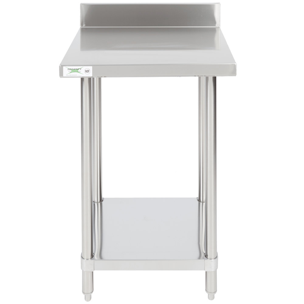 "Regency 24"" x 24"" 16-Gauge Stainless Steel Commercial Work Table with 4"" Backsplash and Undershelf"