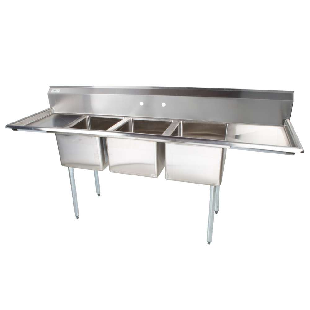 "Regency 88"" 16-Gauge Stainless Steel Three Compartment Commercial Sink with 2 Drainboards - 16"" x 20"" x 12"" Bowls"
