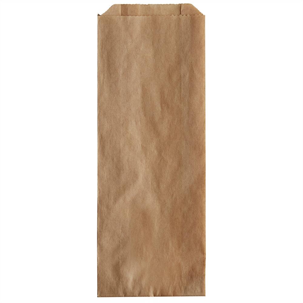 Carnival King 3 1/2 inch x 1 1/2 inch x 9 inch Plain Kraft Paper Hot Dog Bag - 1000/Case