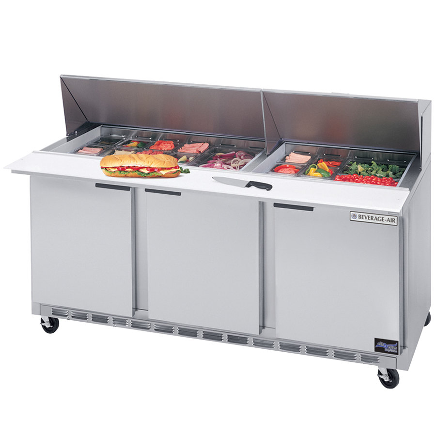 "Beverage-Air SPE72-24M 72"" Three Door Mega Top Refrigerated Salad / Sandwich Prep Table"