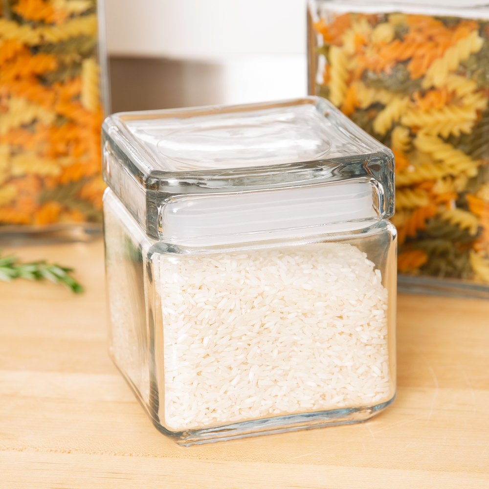 anchor hocking 85587r 1 qt clear stackable square glass jar 4 case