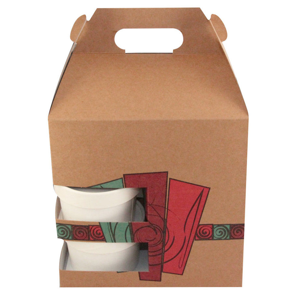 "8"" x 6"" x 8"" Barn Take Out Lunch Box / Chicken Box with Cup Holder and Harvest Design - 100/Case"