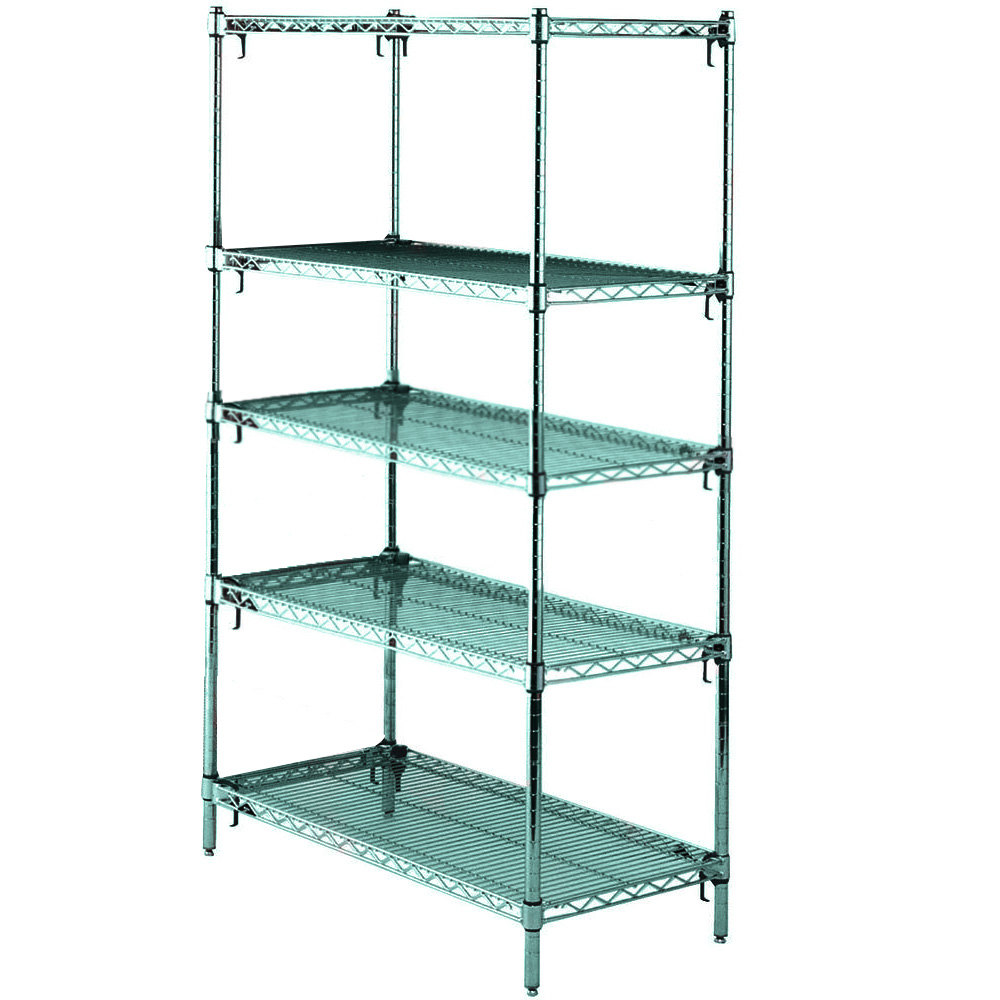 "Metro 5A447K3 Stationary Super Erecta Adjustable 2 Series Metroseal 3 Wire Shelving Unit - 21"" x 42"" x 74"""