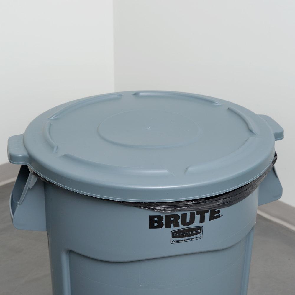 Rubbermaid fg264560gray brute 44 gallon gray trash can lid Lidded trash can for bathroom