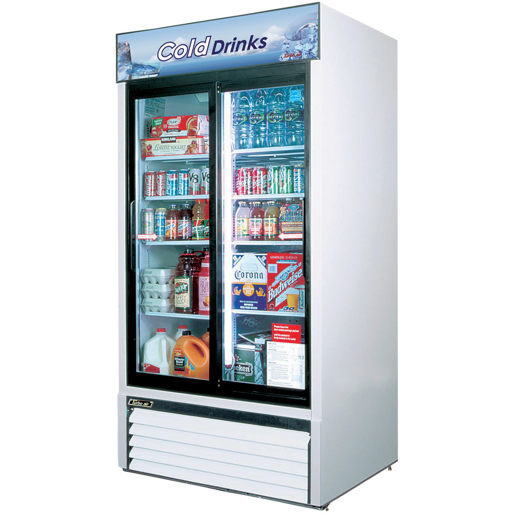"Turbo Air TGM-35R White 41"" Two Sliding Glass Door Refrigerated Merchandiser - 35 Cu. Ft."