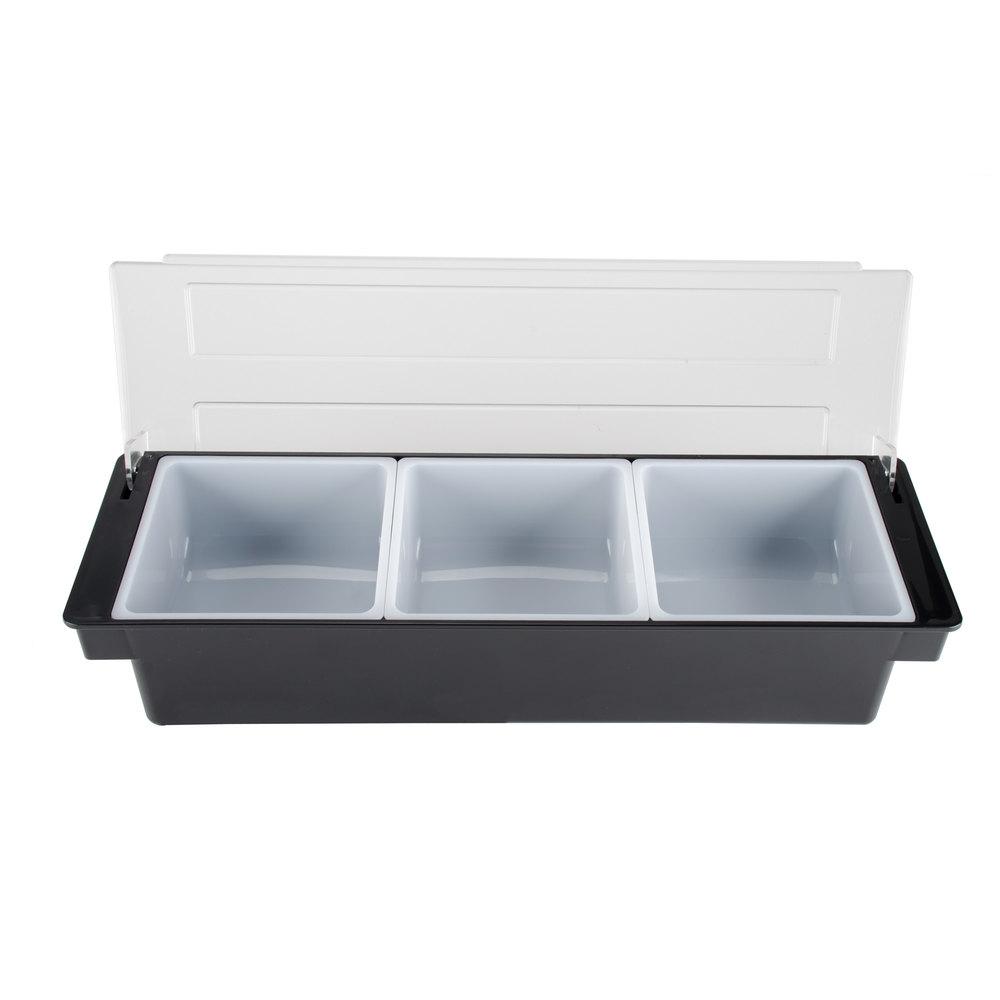 Tablecraft 104 Black 3 Compartment Condiment Holder 20