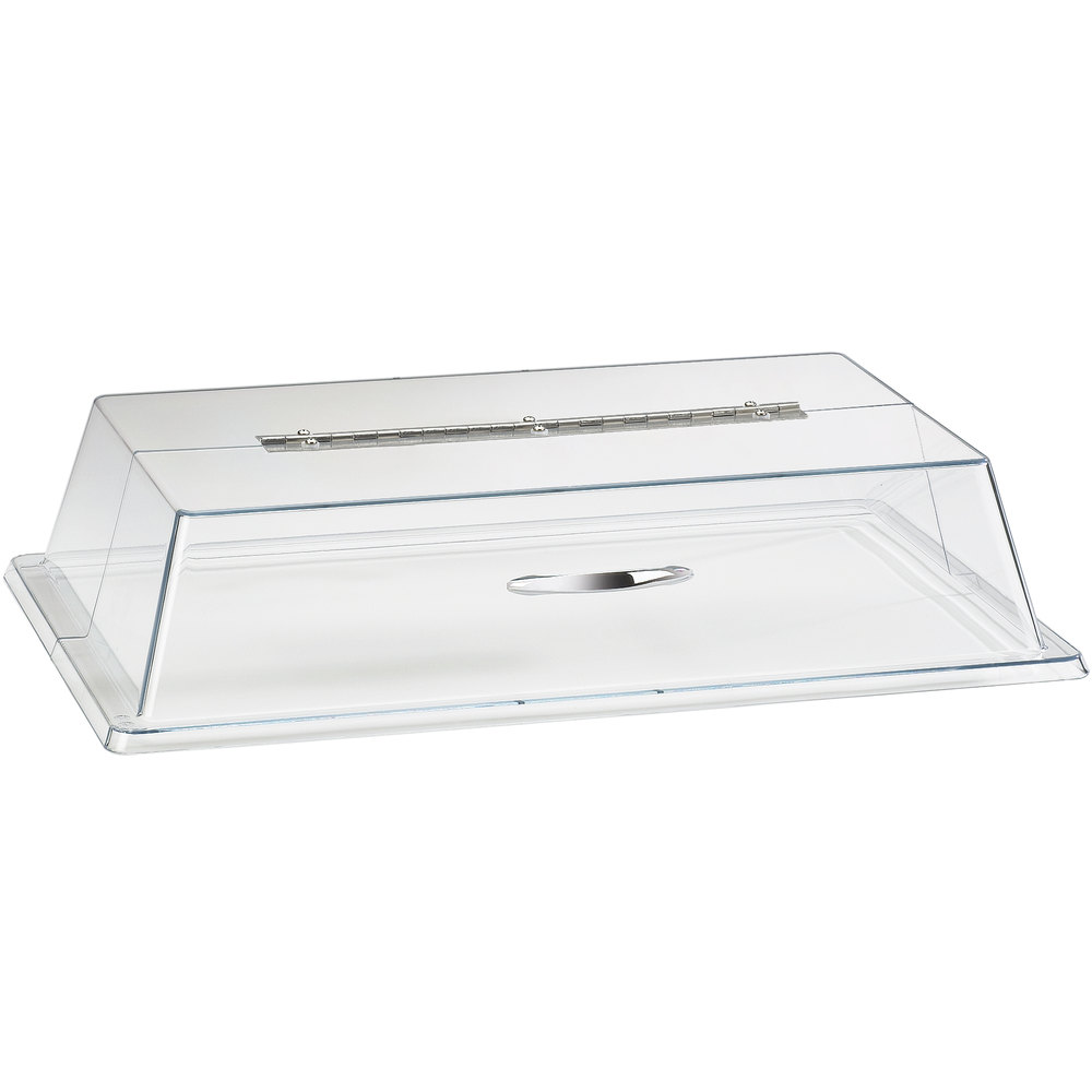 "Cal-Mil 329-12 Clear Standard Rectangular Bakery Tray Cover with Long Hinge - 12"" x 20"" x 4"""