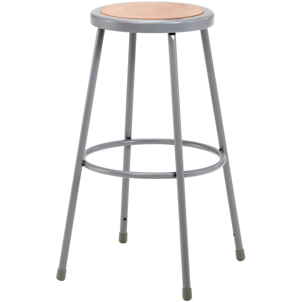 "National Public Seating 6230 30"" Gray Hardboard Round Lab Stool"