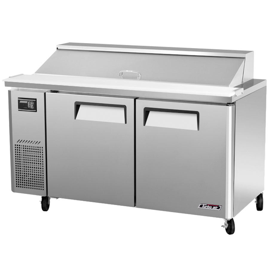 "Turbo Air JST-60 60"" J Series Two Door Refrigerated Salad / Sandwich Prep Table with Side-Mount Compressor"