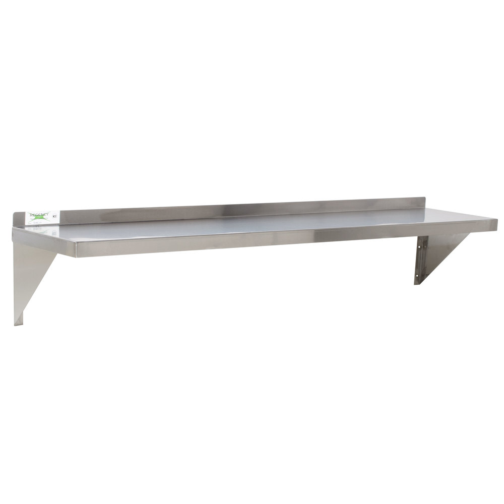 "Regency 18 Gauge Stainless Steel 12"" x 60"" Solid Wall Shelf"
