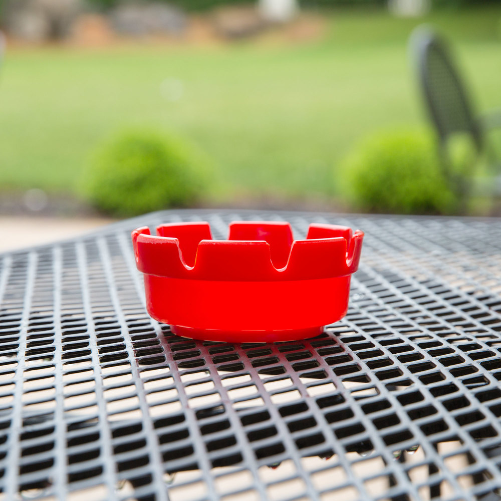 "4 1/4"" Red Plastic Ashtray - 6/Pack"