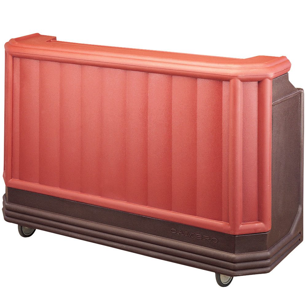 "Cambro BAR730PM189 Brown Mahogany Cambar 73"" Post-Mix Portable Bar with 7 Bottle Speed Rail, Cold Plate, and Soda Gun"
