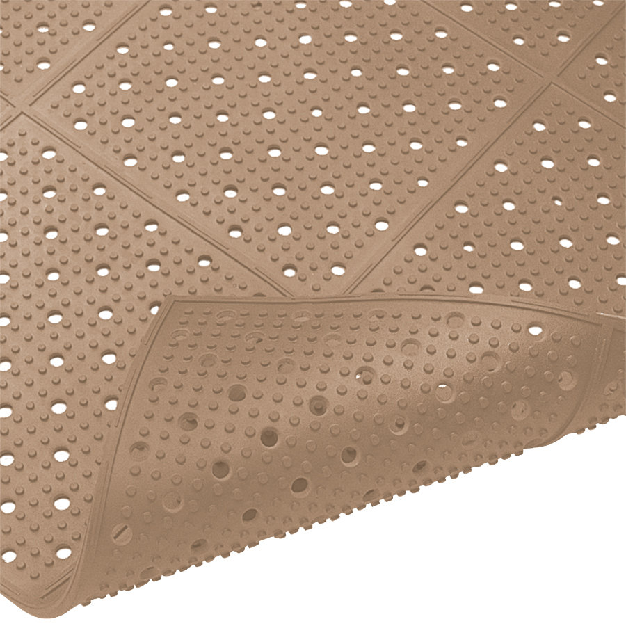 "Cactus Mat 1640R-B4 REVERS-a-MAT 4' Wide Brown Reversible Rubber Anti-Fatigue Safety Runner Mat - 3/8"" Thick"