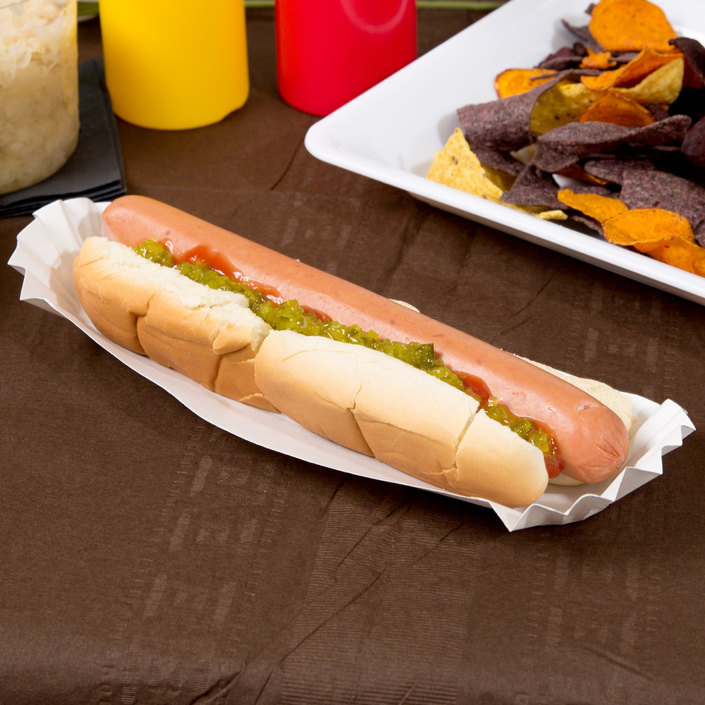 "Hoffmaster 610735 10"" White Paper Fluted Hot Dog Tray 3000 / Case"