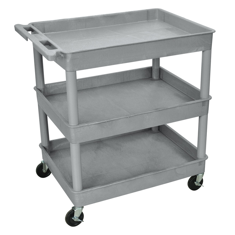 Luxor / H. Wilson TC111 Gray 3 Tub Utility Cart - 24