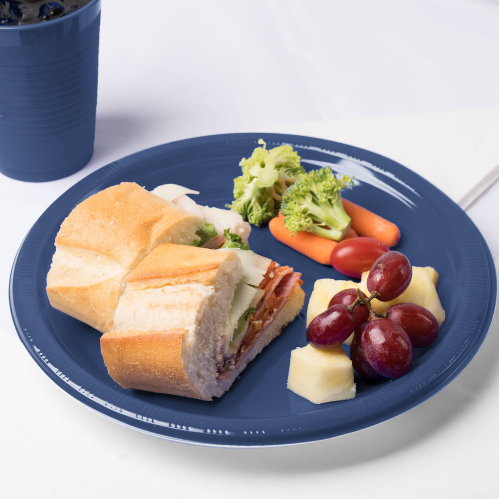"Creative Converting 28113731 10"" Navy Blue Plastic Plate - 20/Pack"