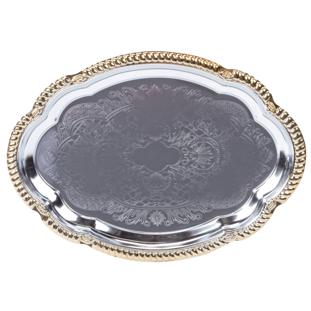 "Vollrath 47265 Odyssey 18 1/8"" x 13"" Oval Gold Trim Metal Catering Tray"